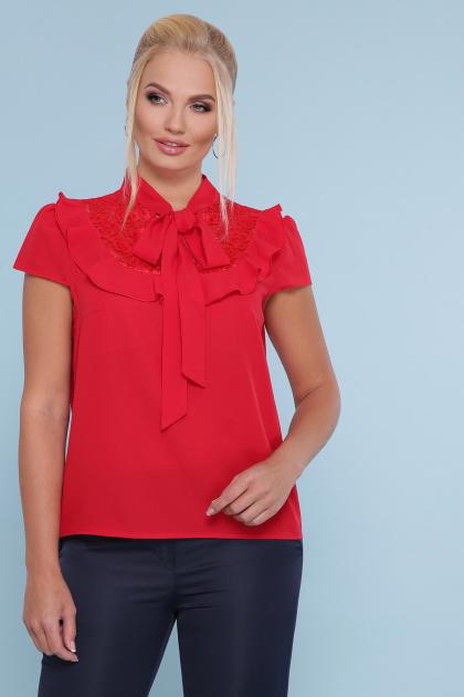черная блузка батал. блуза Федерика-Б к/р. Цвет: красный