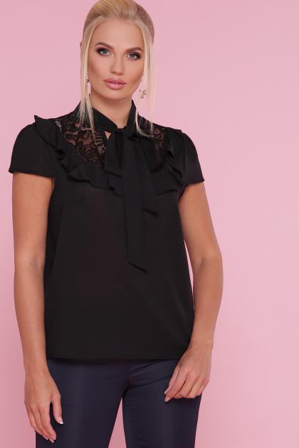 батальная блузка красного цвета. блуза Федерика-Б к/р. Цвет: черный