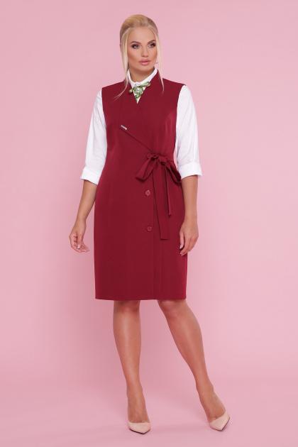 деловое платье больших размеров. платье-жилет Женева-Б б/р. Цвет: бордо