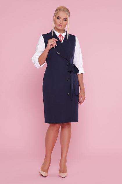 деловое платье больших размеров. платье-жилет Женева-Б б/р. Цвет: синий