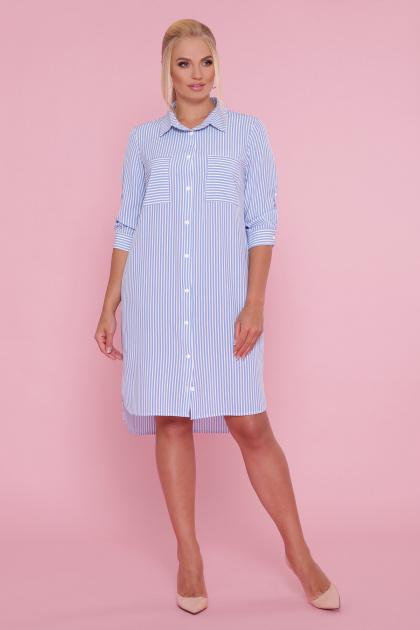 платье-рубашка больших размеров. платье Валентия-Б 3/4. Цвет: голубая полоска