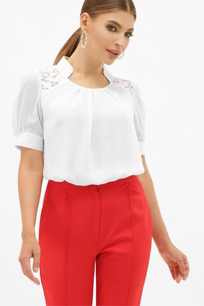 шифоновая блузка для полных женщин. блуза Римма-Б к/р. Цвет: белый