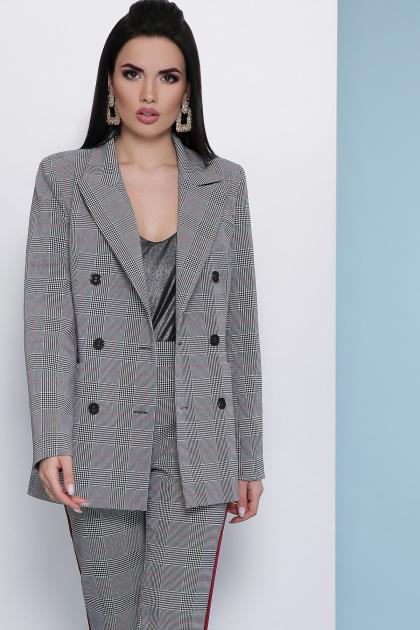 деловой клетчатый пиджак. пиджак Паркер. Цвет: клетка серая