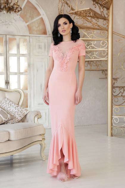 красное платье с кружевом. платье Наоми к/р. Цвет: персик
