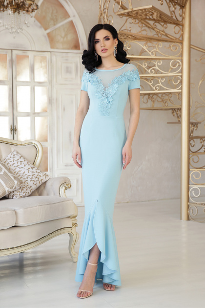 персиковое платье в пол. платье Наоми к/р. Цвет: голубой