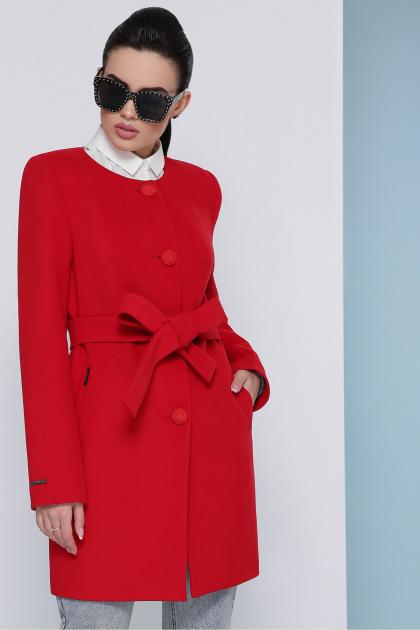 изумрудное пальто без воротника. Пальто П-337-К. Цвет: 3032-красный