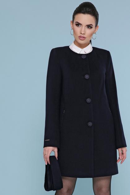 изумрудное пальто без воротника. Пальто П-337-К. Цвет: черный