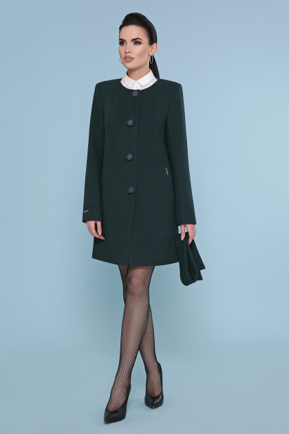 изумрудное пальто без воротника. Пальто П-337-К. Цвет: 7214-зеленый