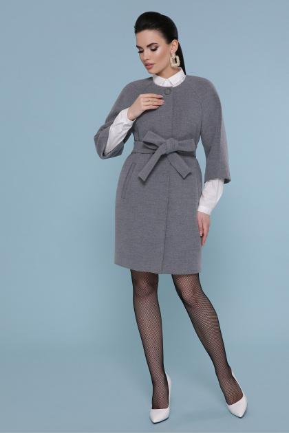 черное пальто с рукавом три четверти. Пальто П-355. Цвет: 071-св. серый