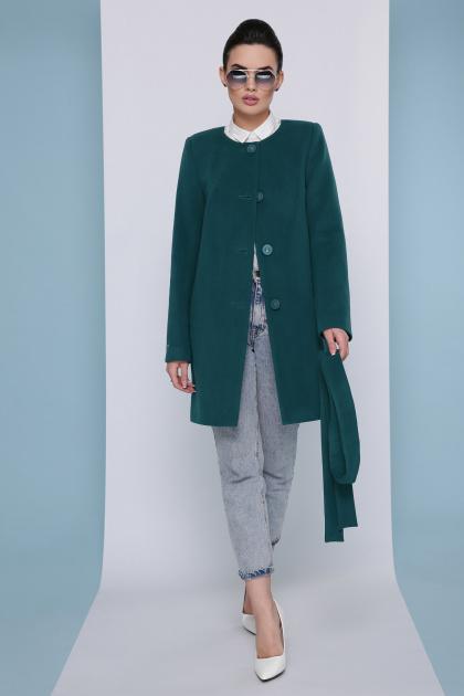 изумрудное пальто без воротника. Пальто П-337-К. Цвет: бутылочный