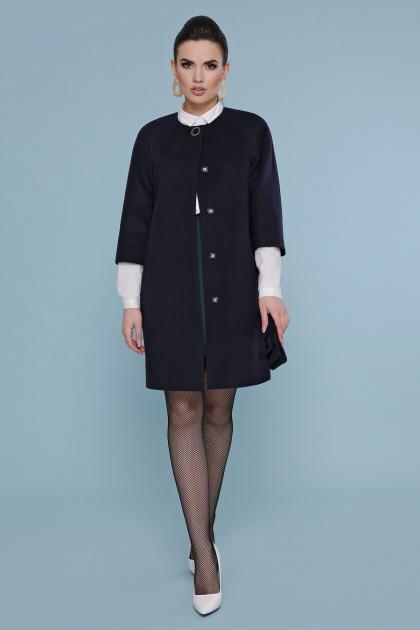 черное пальто с рукавом три четверти. Пальто П-355. Цвет: 377+5110- т.синий