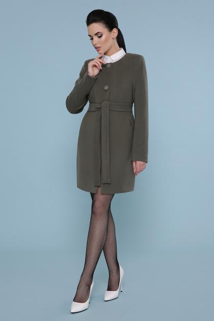 изумрудное пальто без воротника. Пальто П-337-К. Цвет: 7438-оливка
