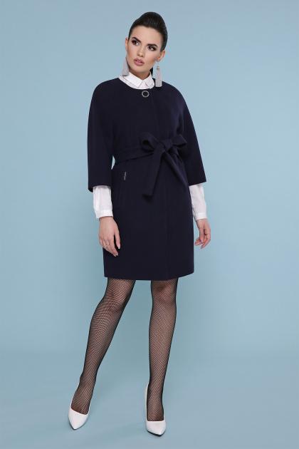 черное пальто с рукавом три четверти. Пальто П-355. Цвет: 381- синий