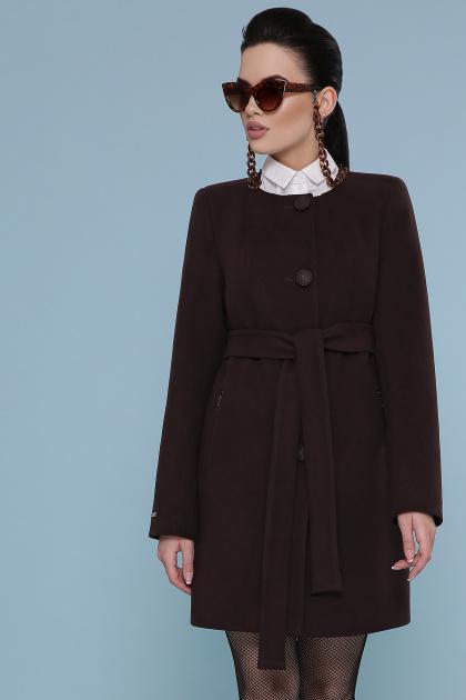 изумрудное пальто без воротника. Пальто П-337-К. Цвет: шоколад