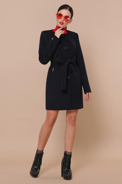 изумрудное пальто без воротника. Пальто П-337-К. Цвет: 5110-т.синий