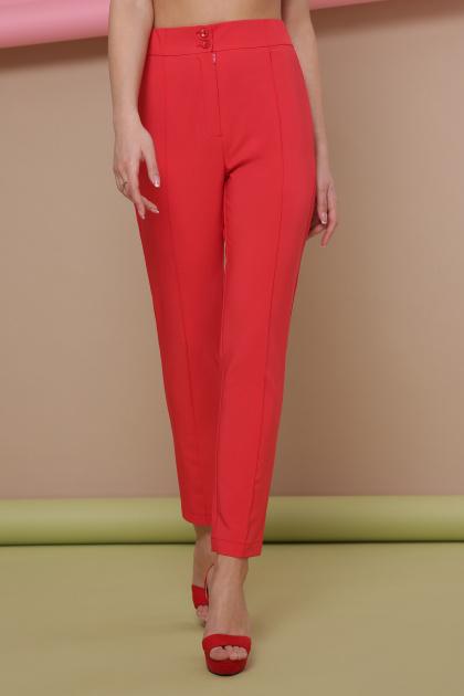 узкие красные брюки. брюки Бенжи 2. Цвет: коралл