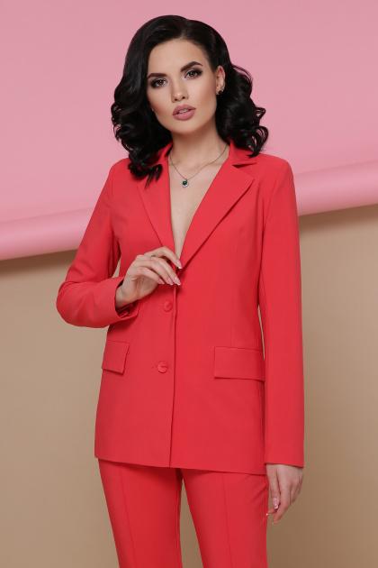 голубой женский пиджак. пиджак Патрик. Цвет: коралл