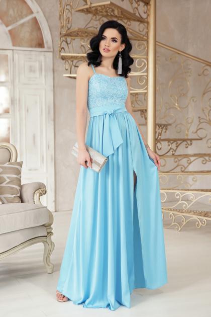 шелковое платье в пол. платье Эшли б/р. Цвет: голубой
