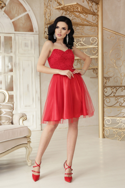 открытое мини платье. платье Эмма б/р. Цвет: красный