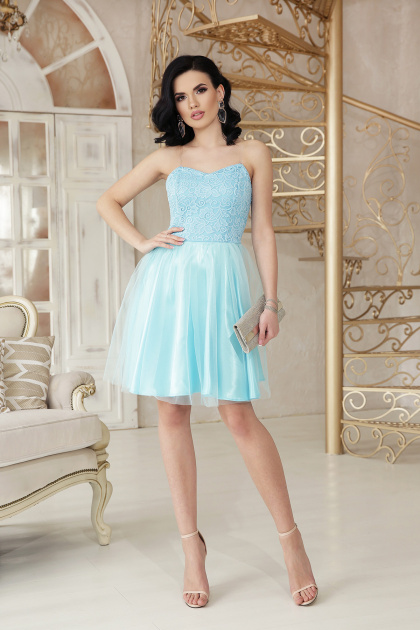 открытое мини платье. платье Эмма б/р. Цвет: голубой