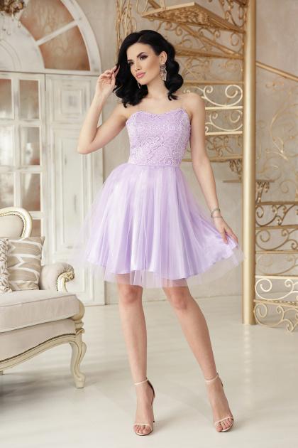 открытое мини платье. платье Эмма б/р. Цвет: лавандовый