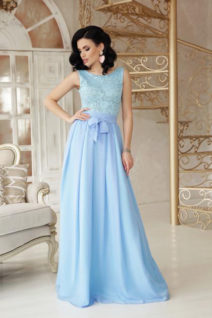 длинное персиковое платье. платье Анисья б/р. Цвет: голубой