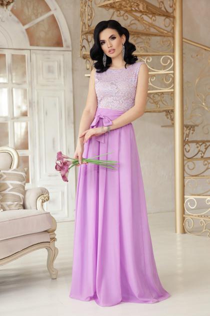 длинное персиковое платье. платье Анисья б/р. Цвет: лавандовый