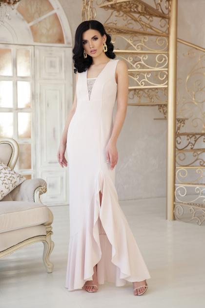 розовое платье с разрезом. платье Этель к/р. Цвет: св. бежевый