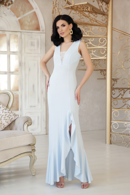 бежевое длинное платье. платье Этель к/р. Цвет: голубой