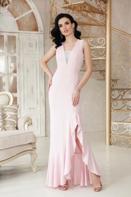 розовое платье с разрезом. платье Этель к/р. Цвет: пудра