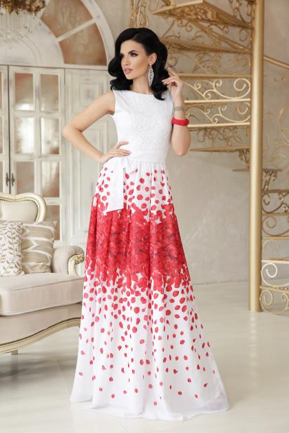 платье в пол на выпускной. Красные лепестки платье Анисья П б/р. Цвет: белый