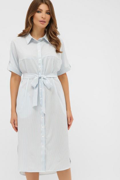летнее платье-рубашка в полоску. платье-рубашка Дарья к/р. Цвет: голубая полоска