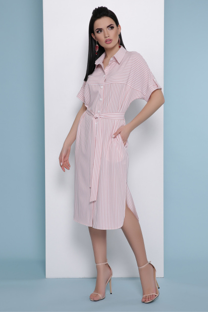 летнее платье-рубашка в полоску. платье-рубашка Дарья к/р. Цвет: розовая полоска