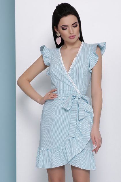 мятное платье в полоску. платье Алсу б/р. Цвет: мята м. полоска