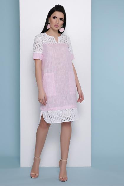 розовое льняное платье. платье Сати к/р. Цвет: розовый