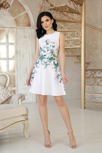 короткое платье с цветами. Маленькие розы платье Альба б/р. Цвет: белый