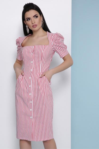 летнее платье в полоску. платье Риана к/р. Цвет: коралл полоска