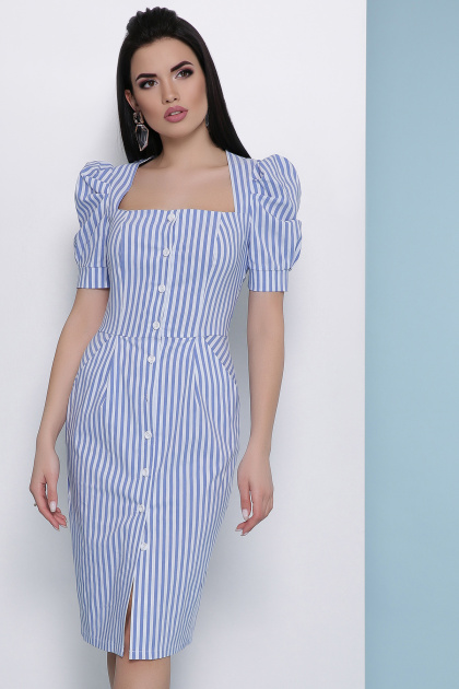 летнее платье в полоску. платье Риана к/р. Цвет: синяя полоска