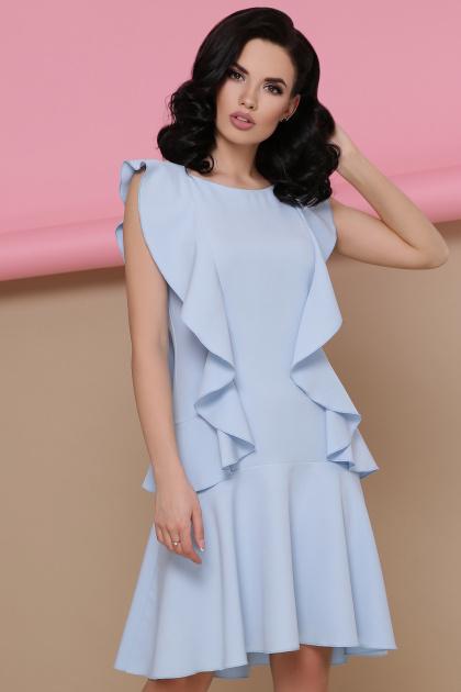 персиковое платье с воланами. платье Шейла б/р. Цвет: голубой