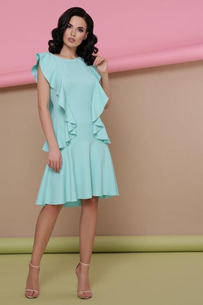 персиковое платье с воланами. платье Шейла б/р. Цвет: мята