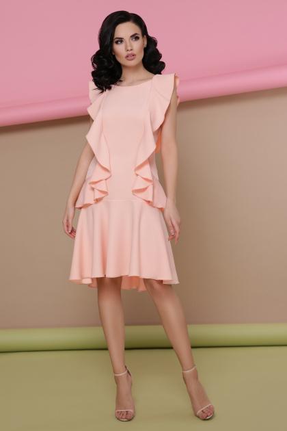 персиковое платье с воланами. платье Шейла б/р. Цвет: персик