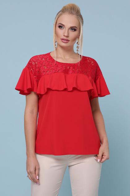 голубая блузка батал. блуза Мелания-Б к/р. Цвет: красный