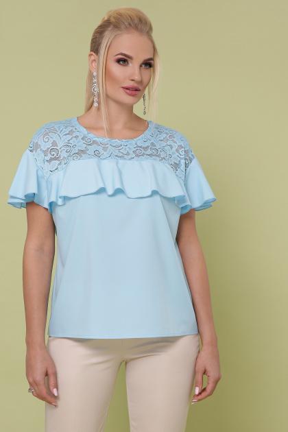 голубая блузка батал. блуза Мелания-Б к/р. Цвет: голубой