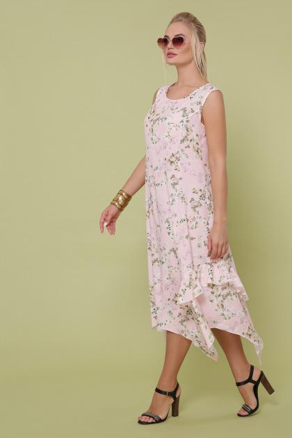 цветастый сарафан больших размеров. сарафан Сабина-Б. Цвет: розовый-цветы орхидеи