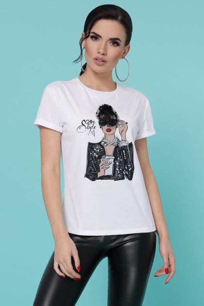 молодежная футболка с принтом. Кофе Vogue футболка Boy-2 C. Цвет: белый