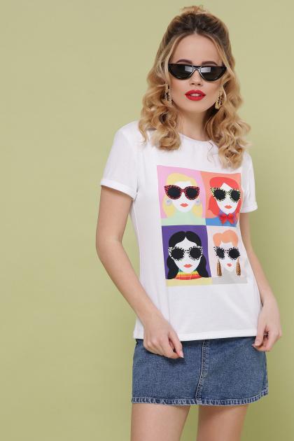 модная женская футболка. Девочки-Очки футболка Boy-2 D. Цвет: белый