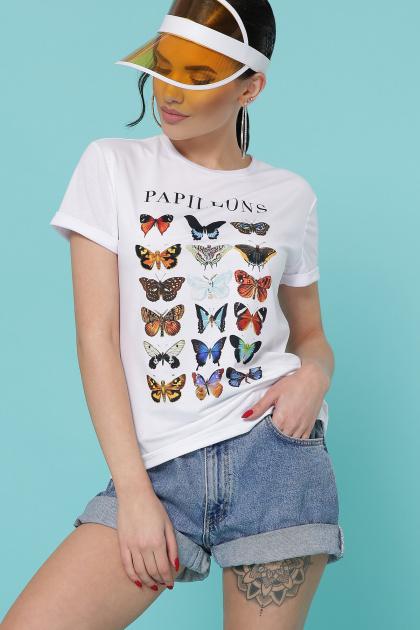 белая футболка с бабочками. Бабочки футболка Boy-2. Цвет: белый