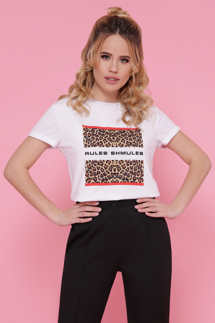черная футболка с леопардовым принтом. Леопард футболка Boy-2. Цвет: белый