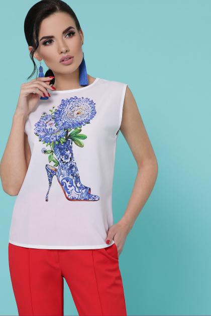 легкая футболка с принтом. Туфли цветы футболка Киви б/р. Цвет: белый