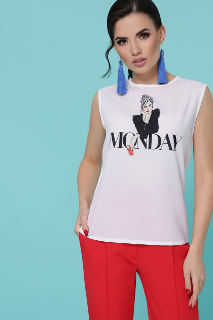 женская футболка с надписью. Monday Футболка Киви б/р. Цвет: белый